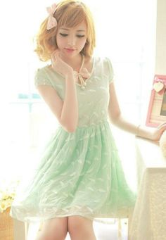 Reminds me of key-lime pie. Just me? Oh...well...K. The dress is cute nevertheless. :D
