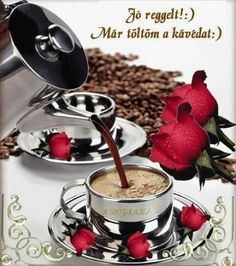 Osztva Good Morning Coffee, Good Morning Good Night, Coffee Wine, Wine Drinks, Chocolate Fondue, Wines, Breakfast, Sweet, Desserts