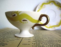 Hand Painted Vintage Cup and Saucer Rose Crown by RushCreekVintage