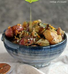 Fried Smashed Potatoes with Onions and Meyer Lemon Dressing
