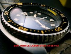 CT057 Sapphire crystal Double dome Custom Sea Turtle Lazer Etch –available with blue AR – Lazer etch on underside