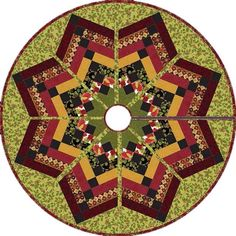 = free pattern = Holiday Opulence Tree Skirt (or table topper), free pattern by Henry Glass Fabrics as seen at Quilt Inspiration