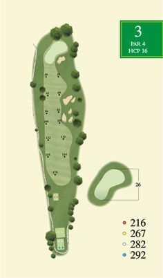 A detailed map of a hole on a golf course. A nice example which includes sprinkler heads, green depth and other important information for the golfer. Created by Bench Craft Company ( http://benchcraftcompany.com/contact/ )
