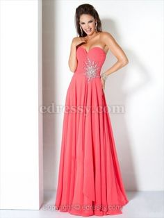 A-line Sweetheart Floor-length Chiffon Prom Dress with Rhinestone at Edressy