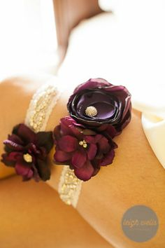 Plum, eggplant, purple flower and rhinestone garter set on white stretch lace. Bridal garter set. I can custom create in other colors too! by LavenderRoseAcc, $52.00