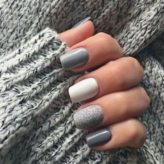 Grey Acrylic Nails, Simple Acrylic Nails, Square Acrylic Nails, Gray Nails, Silver Nails, Gray Nail Art, Brown Nails, White Nails, Simple Fall Nails