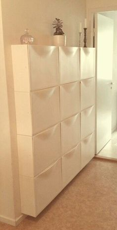 IKEA Trones wall storage for decluttering the closet. Bedroom Space Saving Ideas… IKEA Trones wall storage for decluttering the closet. Hallway Storage, Ikea Storage, Laundry Room Storage, Closet Storage, Storage Spaces, Paint Storage, Ikea Bedroom Storage, Laundry Rooms, Shoe Storage Hidden