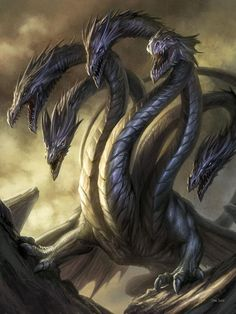 Scott Hydra: large sea serpent/dragon with more than one head. Art by Dan Scott.Hydra: large sea serpent/dragon with more than one head. Art by Dan Scott. Magical Creatures, Fantasy Creatures, Mythical Sea Creatures, Tiamat Dragon, Sea Serpent, Cool Dragons, Fantasy Beasts, Dragon Artwork, Legendary Creature