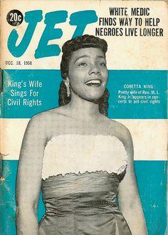 Coretta Scott King on the cover of the December 1958 issue of Jet Magazine Jet Magazine, Black Magazine, Black History Facts, Black History Month, Coretta Scott King, Vintage Black Glamour, Vintage Glam, My Black Is Beautiful, Beautiful Ladies