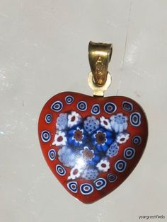 Vintage Sterling Silver AMV Italian Millefiore Mosaic Flower Glass Heart Pendant Red Blue White