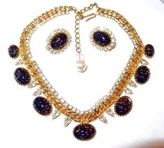 Vintage Hobe Chain, Rhinestone and Glass Confetti Easter Egg Cabochon Necklace and Earring Set