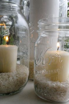 Mason Jar Candles- rice and votive.I am a sucker for Mason Jar ideas. Mason Jar Crafts, Mason Jars, Candle Jars, Candle Holders, Hurricane Candle, Mood Light, Ball Jars, Partys, Bottles And Jars