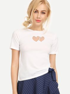 Shop White Mesh Heart Front T-shirt online. SheIn offers White Mesh Heart Front T-shirt & more to fit your fashionable needs.