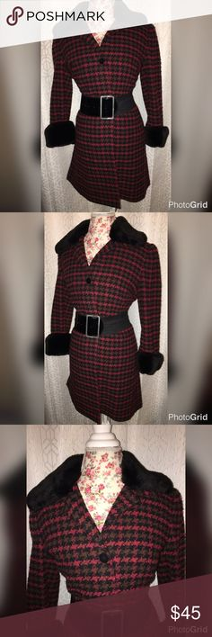 NWOT CINTAGE RED PLAID COAT W/FAUX FUR SZ XL This beautiful vintage coat is a red plaid with so far around the collar and sleeves it's made by grace Dane Louis 19 inches across the chest and 35 inches from the shoulders if you don't have any vintage pieces this is when you would like to start with! Grace Dane Lewis Jackets & Coats Pea Coats