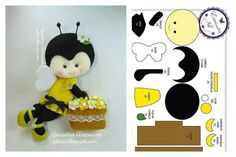 Quiet Book: bee and pattern Felt Patterns, Stuffed Toys Patterns, Bee Crafts, Crafts For Kids, Felt Templates, Bee Party, Felt Christmas Ornaments, Felt Applique, Felt Diy