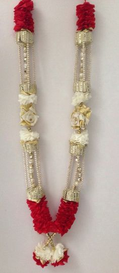 INDIAN BOLLYWOOD WEDDING GROOM BRIDE GARLAND JAIMALA HAAR RED GOLD & CREAM HR02