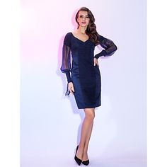 Cocktail Party/Homecoming/Holiday Dress Sheath/Column V-neck Knee-length Chiffon Dress – USD $ 79.99