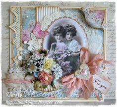 Vintage card by LLC DT Member Tina Klix, using papers from Maja Design's Vintage Summer Basics Collection.