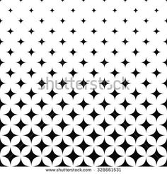 Seamless monochrome curved star pattern