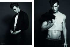 Crop tops for men. Jordan Coulter (VNY) for Karen Magazine. Shot by Simon Upton.
