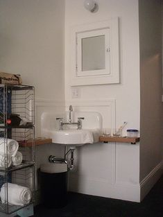 Renovation Tips from Hotel Bathrooms ACE hotel corner sink Tiny House Bathroom, Downstairs Bathroom, Hotel Bathrooms, Bathroom Small, Bathroom Ideas, Bath Ideas, Bathroom Storage, Bathroom Inspiration, Corner Sink