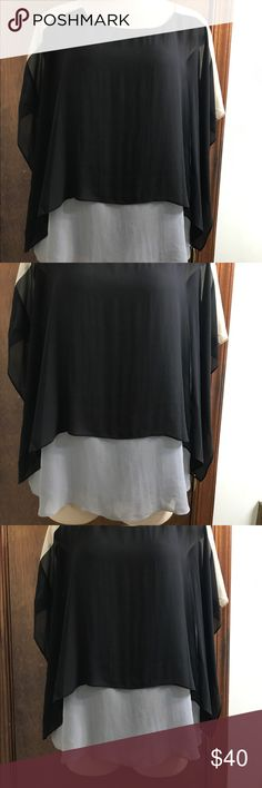 """Eileen Fisher Black Tan Silk Tunic Top Blouse Sz M Eileen Fisher Women's Black Tan Grey Colorblock Silk Tunic Top Blouse Sz Medium 100% silk shell and lining Pit to pit 20"""" Waist 22"""" across Length 24"""" Excellent Condition Eileen Fisher Tops"""