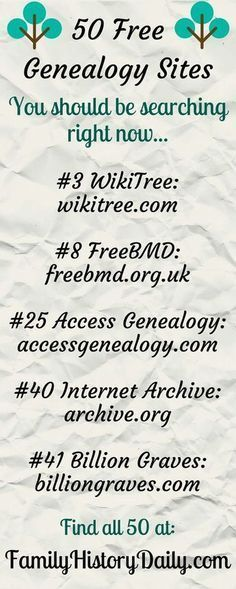 Free Genealogy Sites to Search Today These 50 Free Genealogy Sites Will Take Your Family History Research To The Next Level.These 50 Free Genealogy Sites Will Take Your Family History Research To The Next Level. Free Genealogy Sites, Genealogy Search, Family Genealogy, Genealogy Forms, Free Genealogy Records, Ancestry Websites, Genealogy Chart, Ancestry Dna, Genealogy Humor