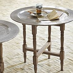 hammered metal tray table