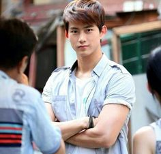 """2PM(Taecyeon) while filming """"Who are you"""" hes so cute! Loved his Character Cha Gun Woo!"""