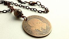 Antique necklace French necklace Coin necklace Boho by CoinStories