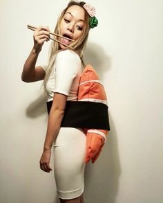 diy sushi / nigiri costume - cute! | could also put up hair with chopsticks More