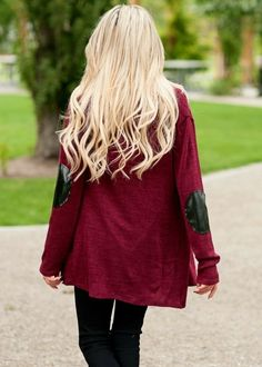 Maroon cardigan with elbow patches in oversized style. I WANT SO BAD!
