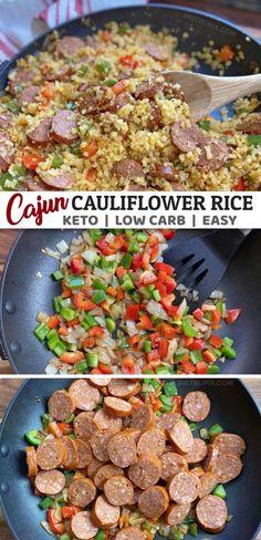 Cajun Cauliflower Rice (Easy Keto Dinner Recipe) - Keto Recipes - Ideas of Keto Recipes - Easy Cajun Cauliflower Rice Instrupix Low Carb Dinner Recipes, Keto Dinner, Diet Recipes, Vegetarian Recipes, Healthy Recipes, Low Cholesterol Recipes Dinner, Cena Keto, Cauliflower Rice, Cauliflower Chowder