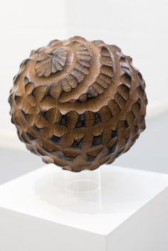 Alison Crowther (English, b.1965) | NFS - No.2, Semi-scorched Sphere, 2001 | Hand carved heart of oak | Hearts of Oak Exhibition, 2015