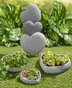 Blessed Hearts Stone Garden Decor gives your yard an uplifting upgrade. Place the Stacked Heart Garden Stake x x including the Stone Planters, Patio Planters, Planters Shade, Garden Stakes, Garden Art, Garden Paths, Vegetable Garden Planters, Planter Garden, Lakeside Garden
