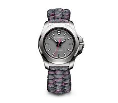 Victorinox Swiss Made I.X V Grey Sapphire Glass Dial with Stainless Steel Case and Removable Shield Grey with Pink Paracord Strap Watch G Shock, Maserati, Cool Watches, Watches For Men, Paracord Watch, Swiss Army Watches, Victorinox Swiss Army, Seiko, Quartz Watch