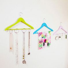Repurpose old, wooden hangers and transform them into display-worthy jewelry organizers.