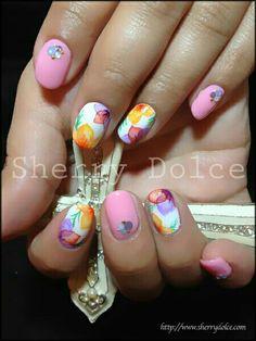 Summer nails! Pink  water color floral nail art