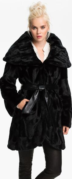 Tahari Marla Faux Fur Wrap Coat