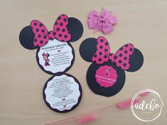 Invitatie botez Minnie Mouse – roz inchis Mickey Mouse, Baby Mouse