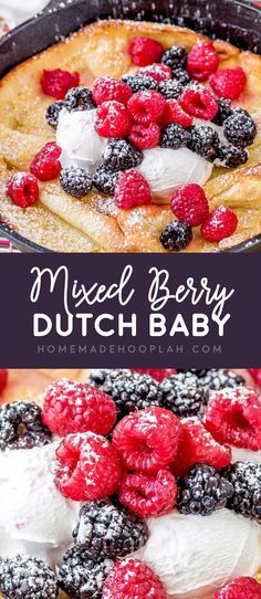 Mixed Berry Dutch Baby! Whether you call it a German pancake or a Dutch baby, this puffy oven pancake is an easy crowd-pleasing breakfast with a light flavor. A snap to customize!   HomemadeHooplah.com