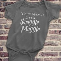 Harry Potter Custom, Harry Potter Onesie, Unique Harry Potter, Harry Potter Baby, Custom Harry Potter Baby Gift, Your Names Snuggle Muggle  Looking for a unique Harry Potter Baby gift? Youve come to the right place.  ORDER INFORMATION ------------------------------ When ordering please include the name you would like to appear on the onesie in the order comments section.  Available Colors (Please note that the light colored onesies will have a black design and the dark colored onesies will…
