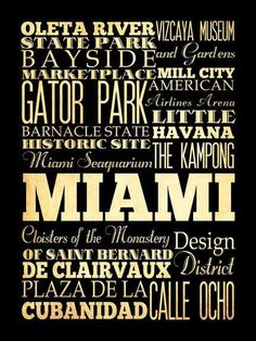 Miami, Florida, Typography Art Poster / Bus  / Transit / Subway Roll Art 18X24 - Miami's Attractions Wall Art Decoration -  LHA-205. $44.95, via Etsy.