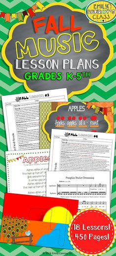 These lessons include 18 fall-themed music lesson plans for K-5th grade music students along with 450 pages of resources! Each lesson includes the following sections: objective, warm-up, anticipatory set, model, guided practice, and independent practice. This product also includes 3 original songs with notation and 5 original songs sung to a familiar tune with lyric sheets!