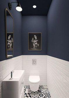 Amazing DIY Bathroom Ideas, Bathroom Decor, Bathroom Remodel and Bathroom Projects to simply help inspire your master bathroomsbathrooms dreams and goals. Dark Walls, Blue Walls, Bathroom Interior, Modern Bathroom, Bathroom Small, White Bathroom, Minimalist Bathroom, Master Bathroom, Minimalist Interior