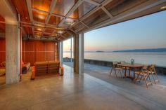 Lower level cabana at sunset. - Contemporary - Patio - Seattle - Dan Nelson, Designs Northwest Architects
