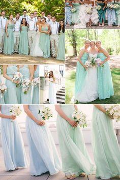 Long Chiffon Mint Bridesmaid Dresses. Via Inweddingdress.com #bridesmaiddresses