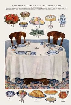 When your Butterick paper dolls have dinner - - Picasa Web Albums Paper Doll House, Paper Houses, Paper Furniture, Doll Furniture, Dover Coloring Pages, Paper Art, Paper Crafts, Paper Dolls Clothing, Toy Theatre