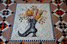 Kim's Quilts Buzolove – Witch quilt Witch quilt, Halloween quilts, Holiday quilts, Fall quilts, Wall Longarm Quilting, Free Motion Quilting, Machine Quilting, Quilting Projects, Quilting Designs, Art Projects, Fabric Painting, Fabric Art, Dot Painting
