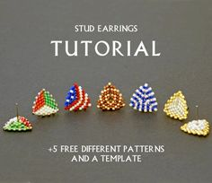 Seed Bead Stud Earring Tutorial Simple Beading Pattern Weaving Instruction Beginner Triangle Beadwor Earring Tutorial, Fringe Earrings, Ear Studs, Stud Earring, Designer Earrings, Bead Weaving, Beading Patterns, Beadwork, Seed Beads